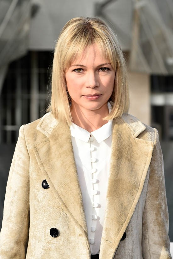 <strong>Michelle Williams </strong> <br><br> Michelle Williams has been rocking short hair for a while, but we love it slightly more grown out (and with a fringe).
