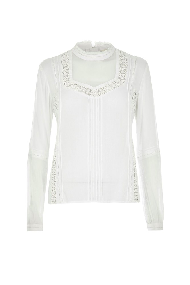 "<a href=""http://au.riverisland.com/women/sale/tops/cream-lace-high-neck-blouse-670881"">Blouse, $30 (was $70), <strong>River Island</strong></a>"