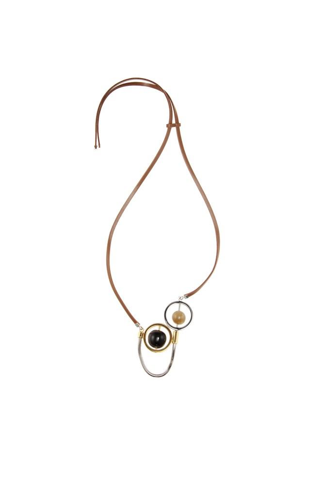 "<a href=""http://www.mytheresa.com/en-au/embellished-leather-necklace-460933.html?catref=category"">Necklace, $324 (was $649), Marni at mytheresa.com</a>"