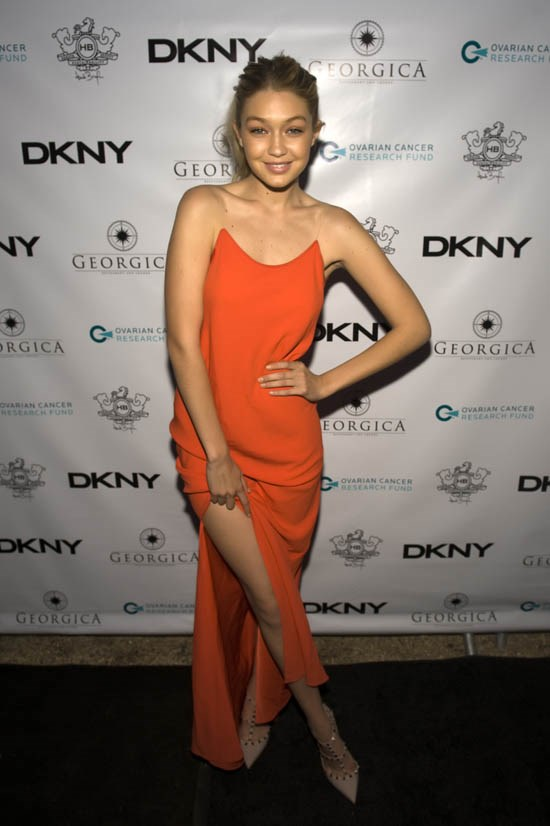 <strong>Gigi Hadid, May 2014</strong> <br><br> Ovarian Cancer Research Fund Memorial Day Weekend Dinner.