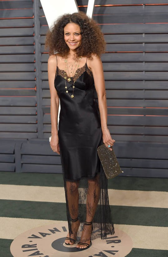 <strong>Thandie Newton, February 2016</strong> <br><br> Vanity Fair Oscar Party.