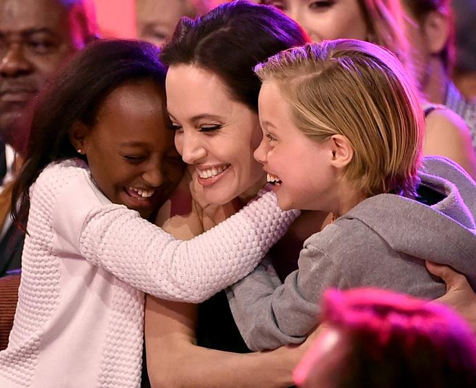 Angelina Jolie and children.