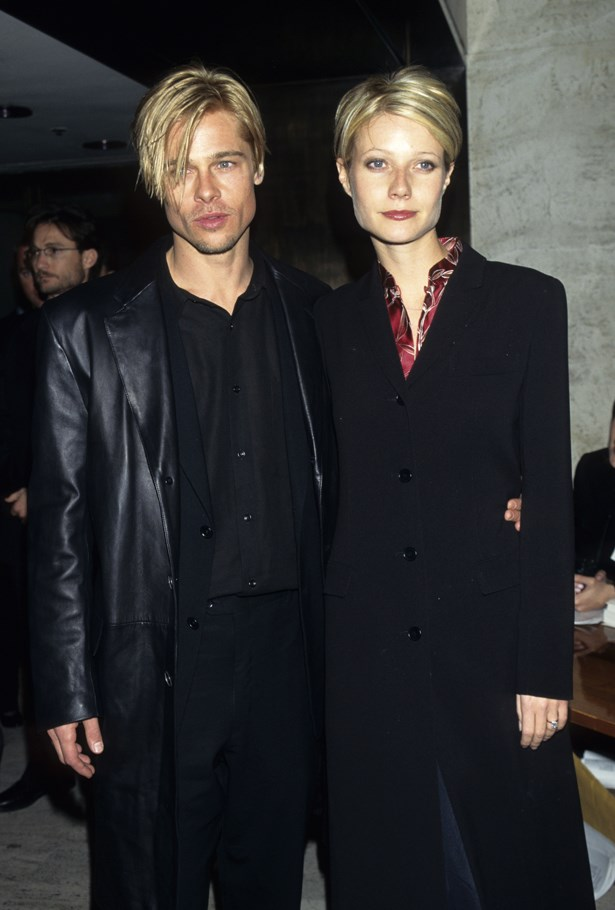 BRAD PITT AND GWYNETH PALTROW<P> <P> The matching haircuts, the moody black coats, the eyeliner. This picture is so 90s we think we can feel a side-pony growing in.