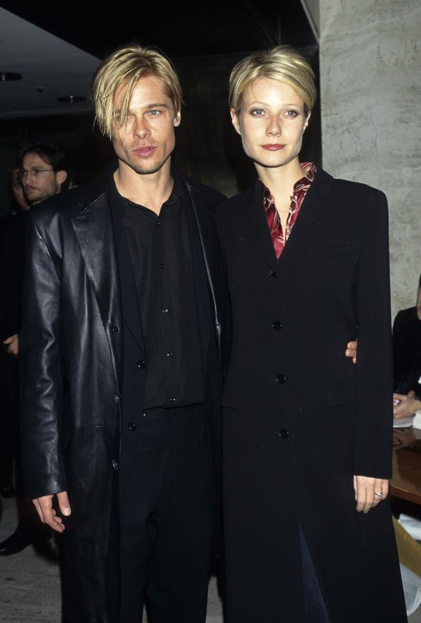 **Brad Pitt and Gwyneth Paltrow** <br><br> The matching haircuts, the moody black coats, the eyeliner. This picture is so '90s we think we can feel a side-pony growing in.