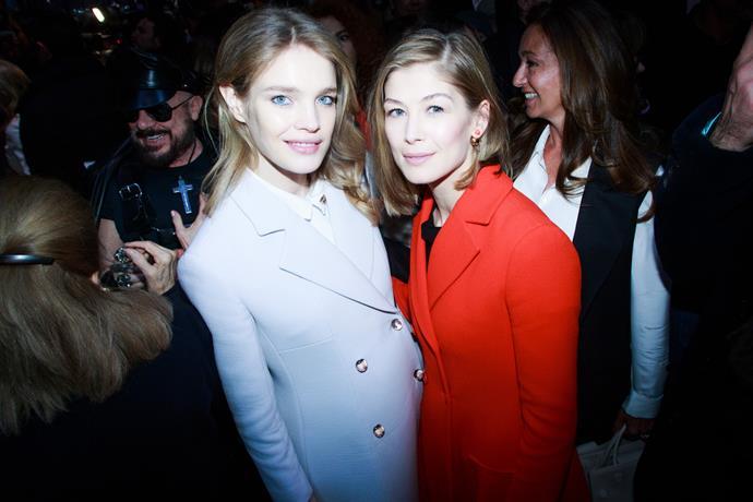 Natalia Vodianova and Rosamund Pike at Dior