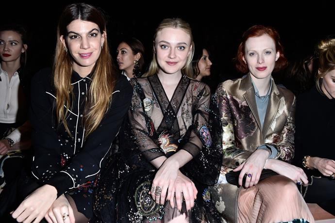 Bianca Brandolini d'Adda, Dakota Fanning and Karen Elson at Valentino