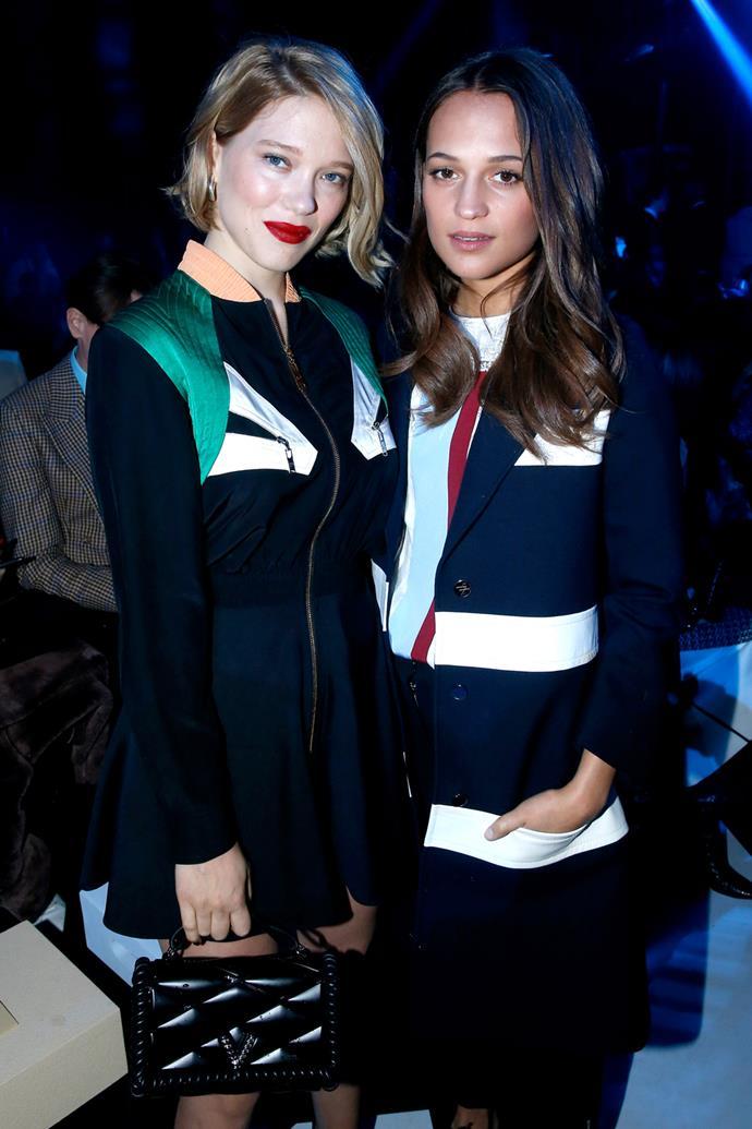 Léa Seydoux and Alicia Vikander at Louis Vuitton