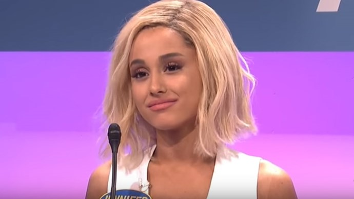 Ariana Grande as Jennifer Lawrence on SNL.