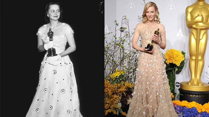 <strong>Olivia De Havilland in 1950 and Cate Blanchett in 2014</strong> <br><br> Perhaps this look is the key to winning an Oscar...