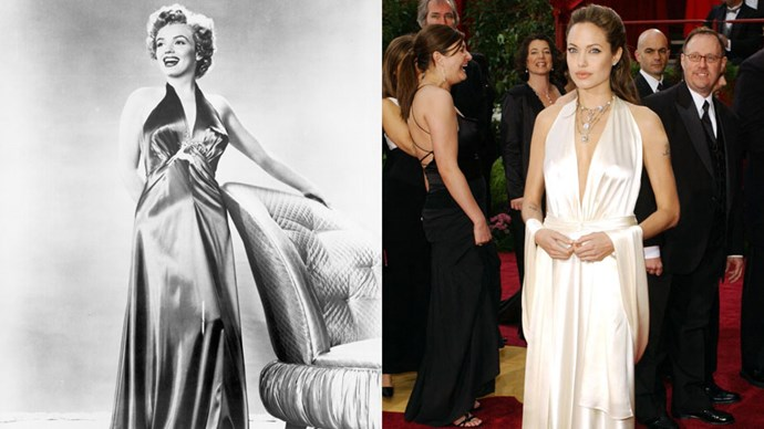 <strong>Marilyn Monroe in 1952 and Angelina Jolie in 2004</strong> <br><br> Angelina Jolie looks decidedly Marilyn-esque in this full-length silk gown.
