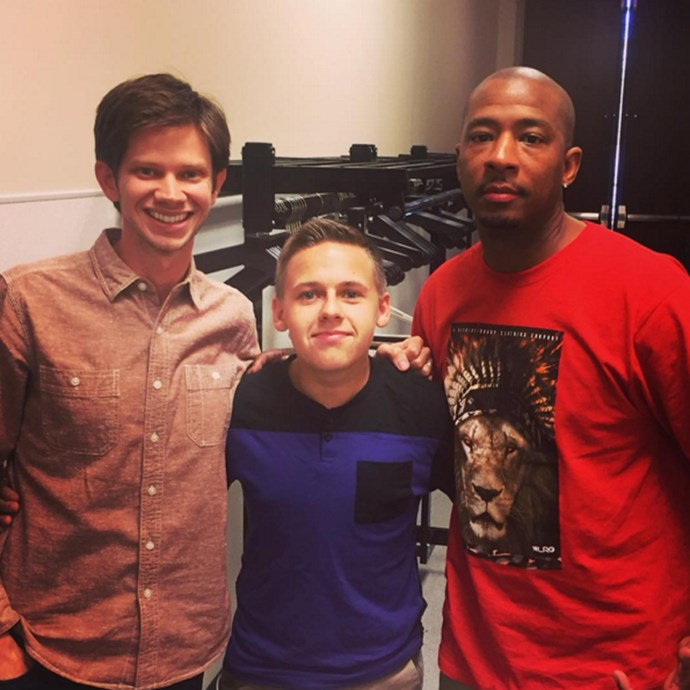 An all-grown-up Jackson Brundage (centre) who played Jamie Scott, with Lee Norris (left), the unforgettable 'Mouth', and Antwon Tanner (right).<br><br> <em>instagram.com/jacksonb4real</em>