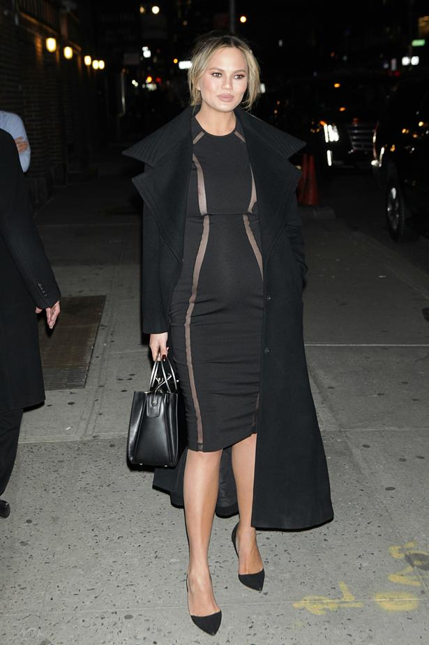 **First pregnancy:** <br><br> Out in New York, 2015.