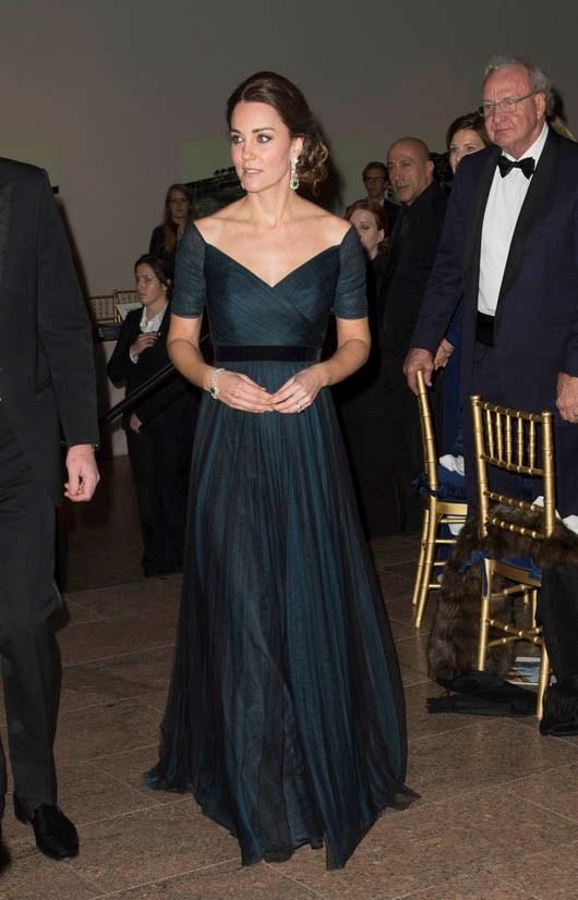 Wearing Jenny Packham in December 2014.