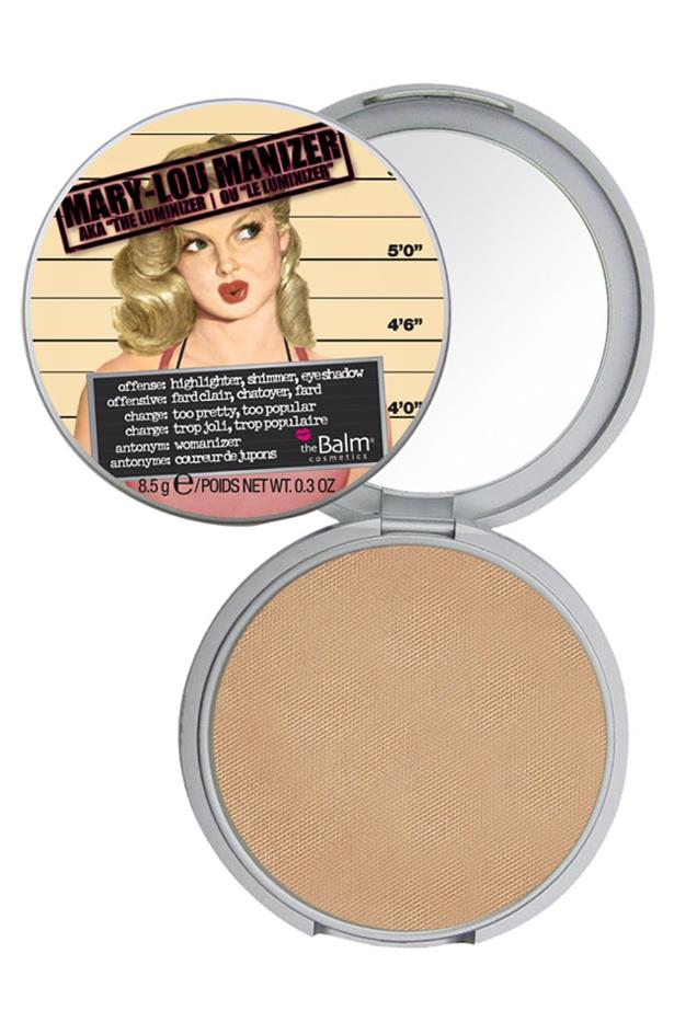 <p> The Highlighter: theBalm's Mary-Lou Manizer. <p> <p> The rap: Referred to as the 'holy grail' of highlighters, Mary-Lou is a champagne coloured pressed powder that gives a subtle, sheer finish.<p>