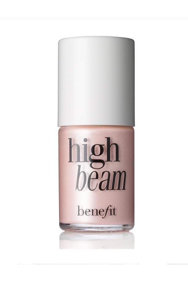 <p> The Highlighter: Benefit's High Beam. <p> <p> The rap: A blendable soft glow highlighter that packs a punch. Plus, it comes in a sweet little bottle that fits in your purse. <p>