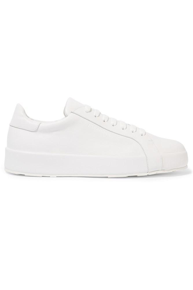 """<a href=""""https://www.net-a-porter.com/au/en/product/683253/jil_sander/leather-sneakers """">Sneakers, $460, Jil Sander at net-a-porter.com</a>"""