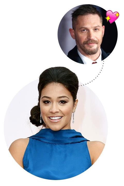 """<p> Gina Rodriguez <3s Tom Hardy<p> <p> """"Tom Hardy. He's gorgeous and probably easily one of the best actors...I remember watching Tom Hardy in a short film like ten years ago. He was just divine. He's so divine and he's a phenomenal actor. To couple those two is a rarity. He's like a unicorn."""""""