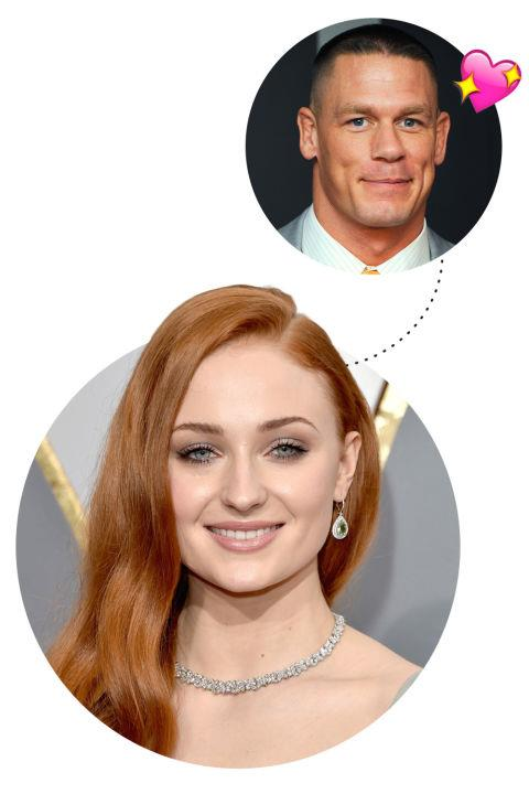 """<p> Sophie Turner <3s John Cena<p> <p> """"It was John Cena, the wrestler. And then I sat next to him on a plane like a year ago and I didn't say anything. We were so close and he's so big and I was just thinking, 'I love you. I love you so much.' We need to get him on Game of Thrones. He could play like a hunky knight who doesn't wear a shirt."""""""
