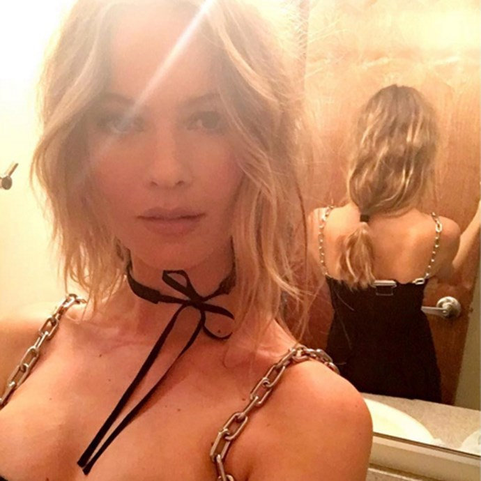 """Behati's loose, waved ponytail and nude lip is the stuff of date night dreams. <br><br> <a href=""""http://www.instagram.com/behatiprinsloo"""">@behatiprinsloo</a>"""