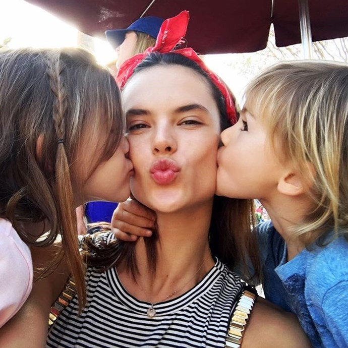 Cuuute. No wonder she's glowing. <br><br> @alessandraambrosio