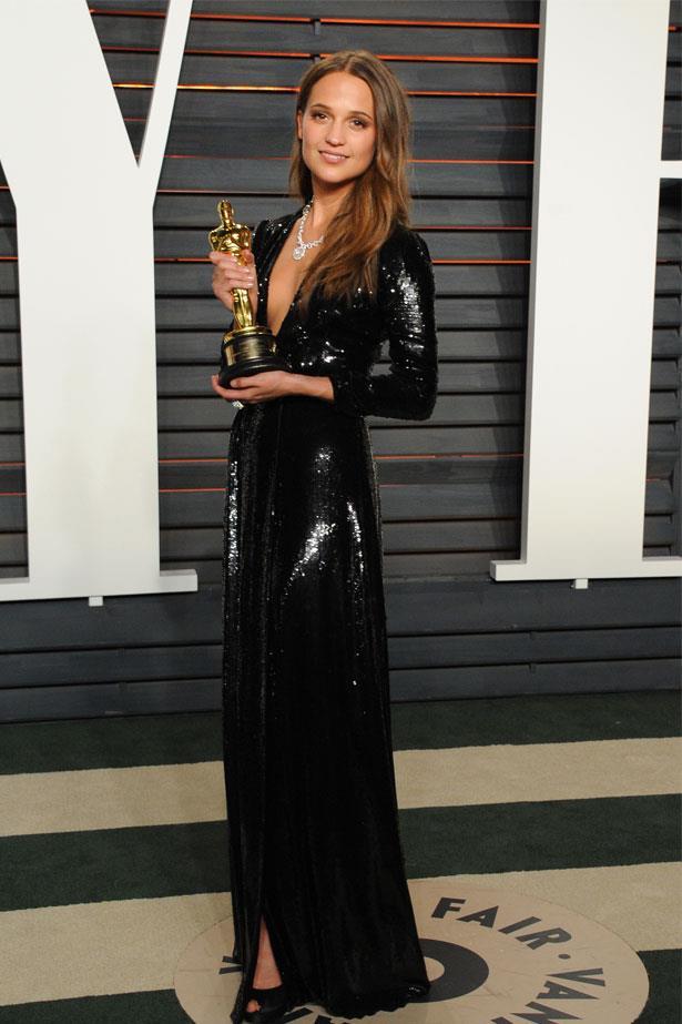 Alicia Vikander at the Vanity Fair Oscar Party, February 2016