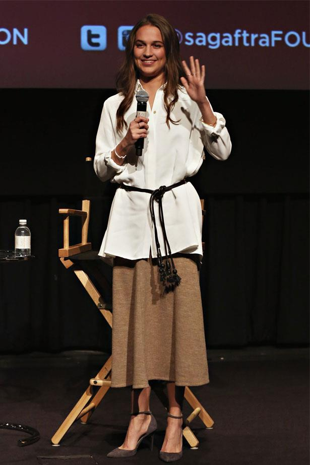 Alicia Vikander attends a Q&A after a screening of <em>The Danish Girl</em>, December 2015