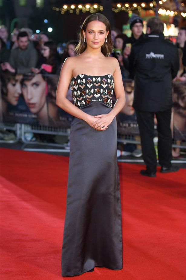 Alicia Vikander attends the UK film premiere of <em>The Danish Girl</em>, December 2015
