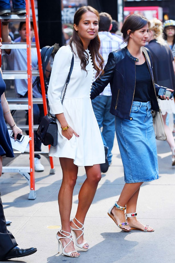 Alicia Vikander is seen at the Good Morning America studios in New York, August 2015