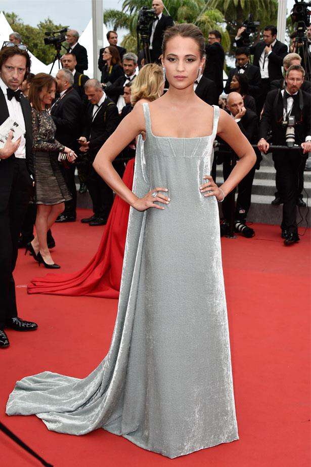 Alicia Vikander attends the premiere of <em>Macbeth </em>at the 68th Annual Cannes Film Festival, May 2015