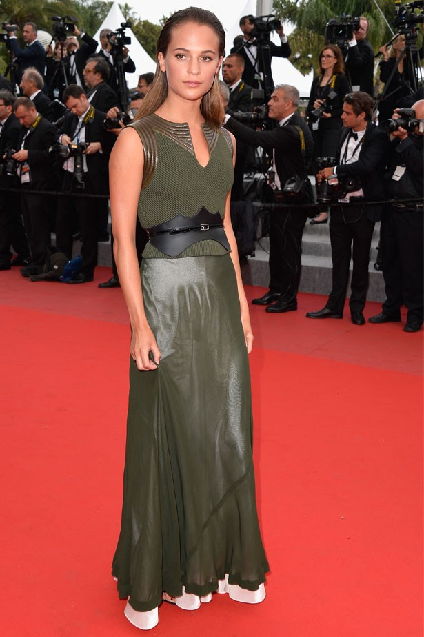 Alicia Vikander attends the premiere of <em>Sicario</em> at the 68th Annual Cannes Film Festival, May 2015