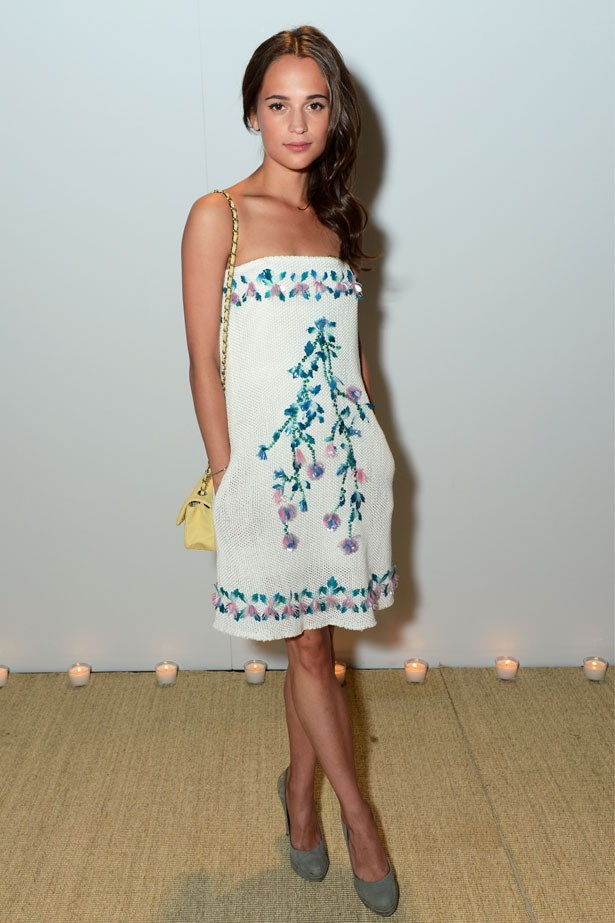 Alicia Vikander attends the Vanity Fair and Chanel dinner during the 66th Annual Cannes Film Festival, May 2013