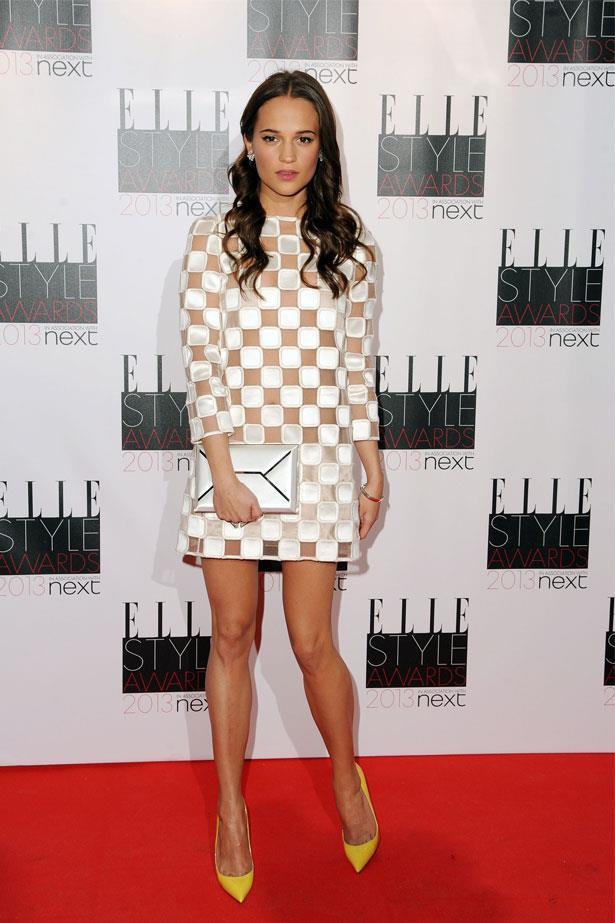 Alicia Vikander attends the UK ELLE Style Awards, February 2013