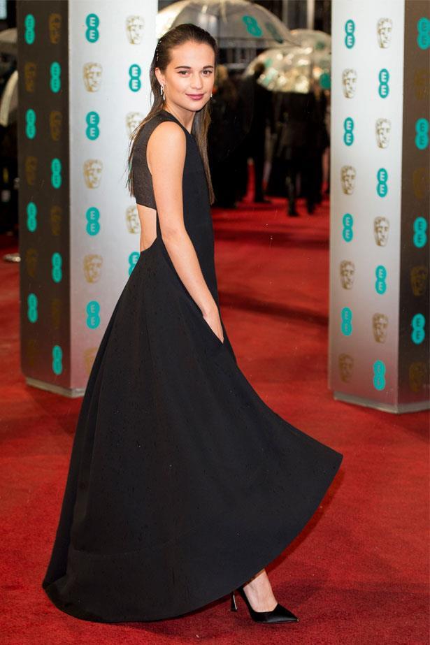Alicia Vikander at the BAFTAs, February 2013