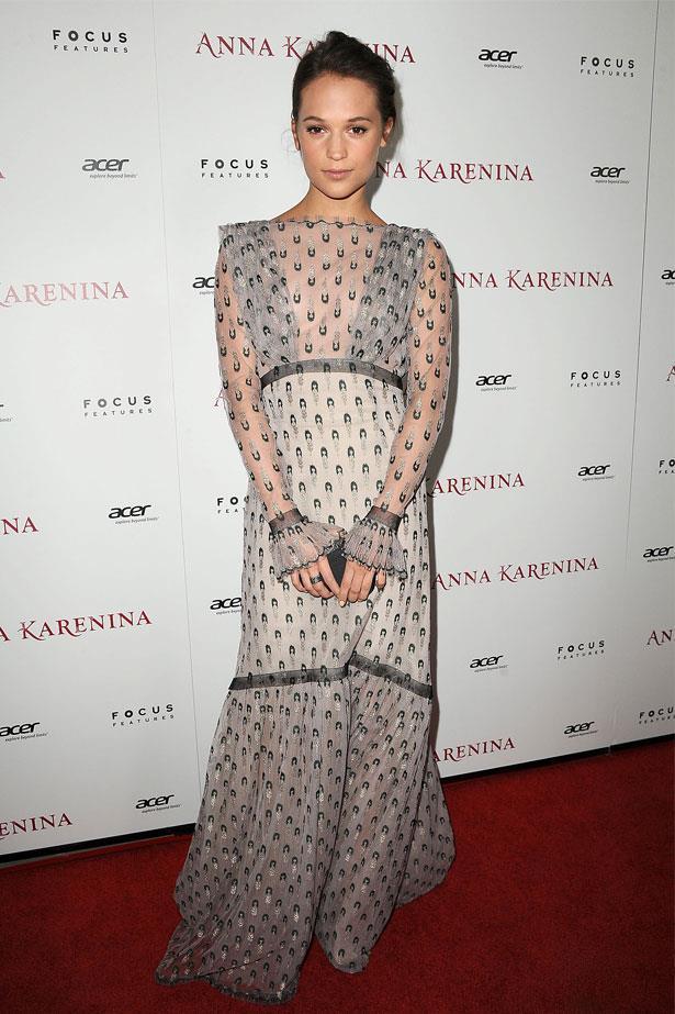 Alicia Vikander attends the Los Angeles premiere of <em>Anna Karenina</em>, November 2012