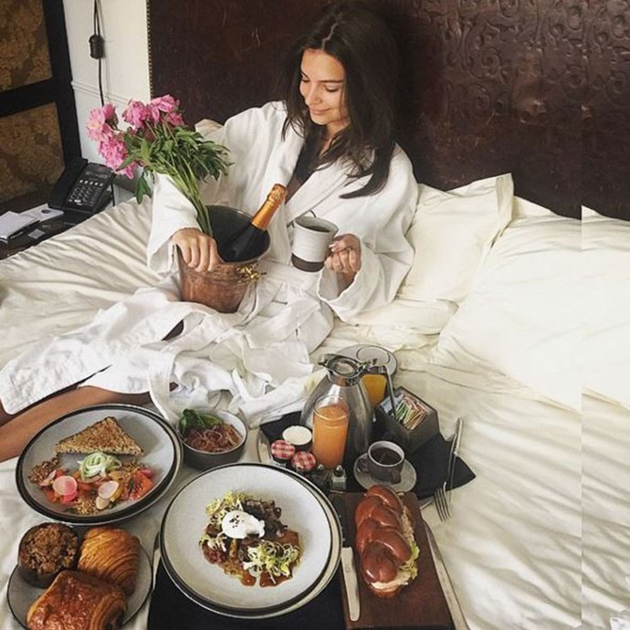 """<a href=""""https://www.instagram.com/p/3ozykPy2b8/?taken-by=emrata&hl=en"""">""""Starting my birthday off right thanks to @magidnation glorious breakfast in bed! Thank you for all the wonderful messages. Making my day!""""</a> <br><br> Birthday breakfast in bed of our dreams."""
