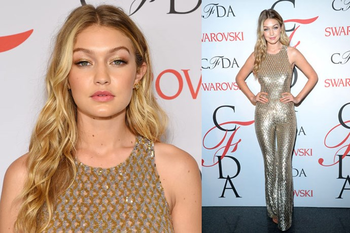 <strong>Gigi Hadid</strong> <br><br> It was all gold for Gigi at last year's CFDA Fashion Awards.