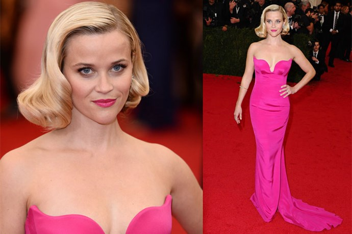 <strong>Reese Witherspoon</strong> <br><br> Witherspoon popped in pink at 2014's Met Gala.