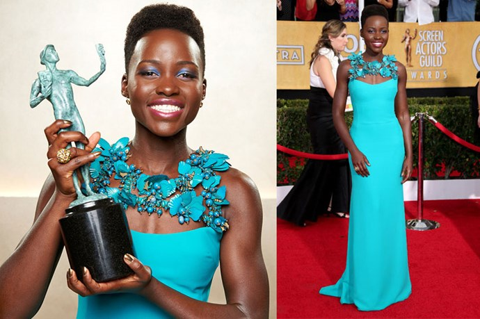 <strong>Lupita Nyong'o</strong> <br><br> Lupita's teal eye perfectly complimented her 2014 SAG Awards gown.