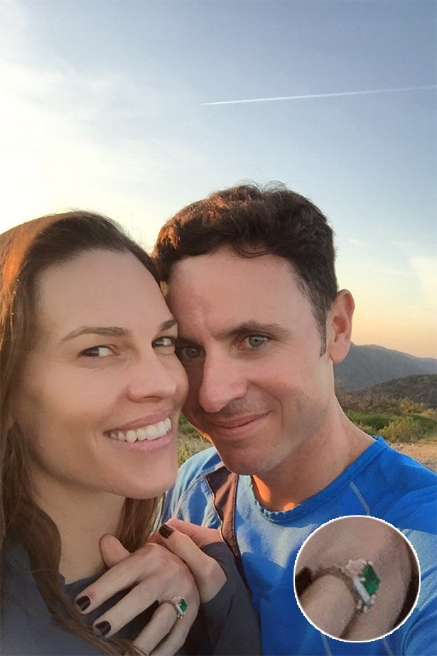 Hilary Swank took to Instagram to show off her brand new emerald sparkler from fiance Ruben Torres.