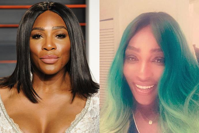 <p> <strong>Serena Williams</strong></p> <p>The tennis star debuted a new Sea/Lime Green Ombre look on her Instagram today. However, on her Snapchat, Williams revealed it was in fact a wig. We all need to have a Kylie Jenner moment.</p>