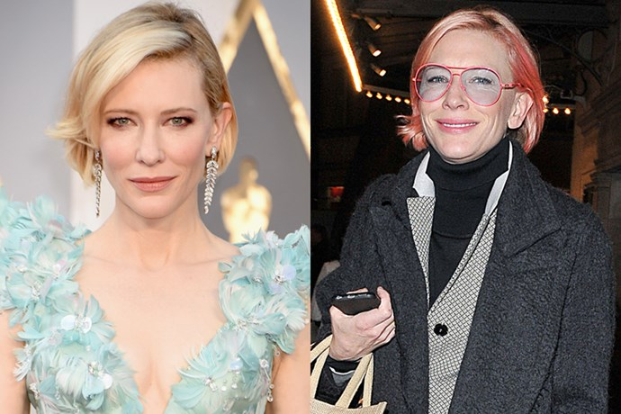 <p> <strong>Cate Blachett</strong></p> <p>The ever classic Australian beauty has been spotted sporting a bright pink bob. This is definitely a new look for the Oscar winner though her colorist, Nicola Clarke, is claiming the dye is only semi-permanent.</p>