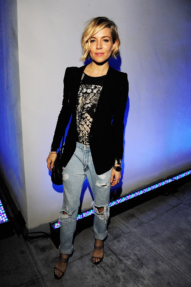 "<strong>Sienna Miller </strong><br> ""The boho bombshell does #denimgoals like none other. Being short, I've always been a heels-over-flats type, so my heart rejoices when I see her team boyfriend jeans with platforms or heeled boots, rather than the more on-trend sneaker, brogue or laid-back sandal."" —Jennifer Kang, acting deputy chief sub-editor"