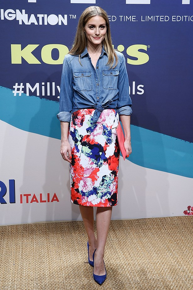 "<strong>Olivia Palermo</strong><br> ""OP makes an oversized denim shirt look feminine, jeans look dressed up and a fitted pencil skirt look cool. She nails denim no matter how she's styling it into her everyday look."" – Brooke Bickmore, workflow director"