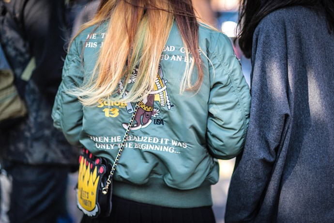 A guest outside the Chloé AW16 show at Paris Fashion Week.