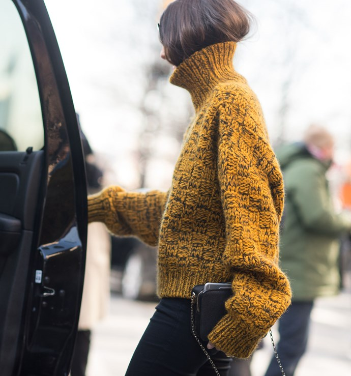 Ahh, the go-to for Insta-stars everywhere (especially Olivia Palermo). I don't know why people started doing it, but I do know how it reads now: chic. Plus, it's pretty much the easiest way to make your messy hair days look intentional, not lazy.