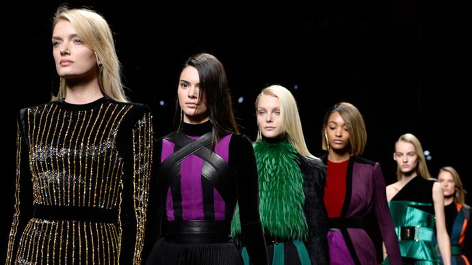 Kendall Jenner and models on the Balmain runway
