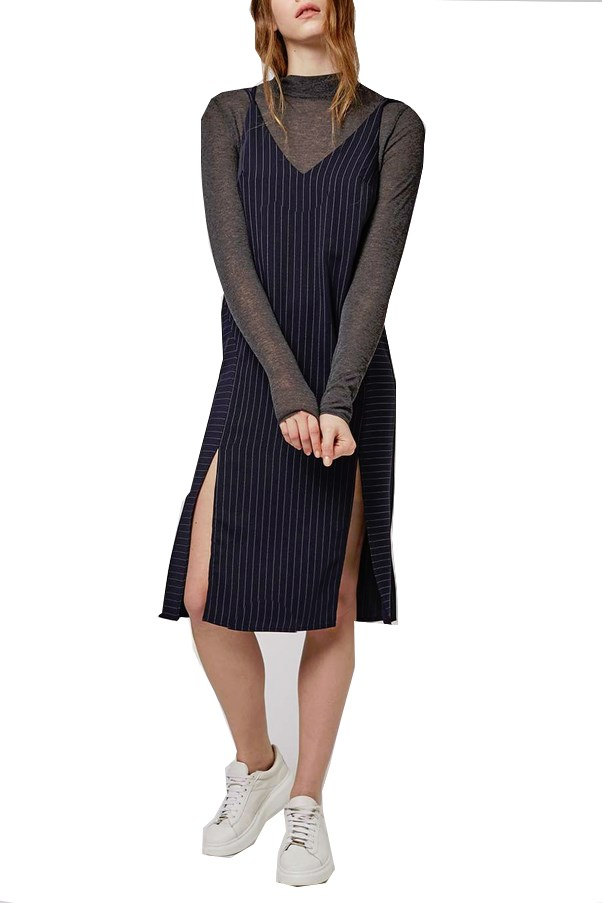 Topshop Pinstripe Slip Dress, $67 AUD.