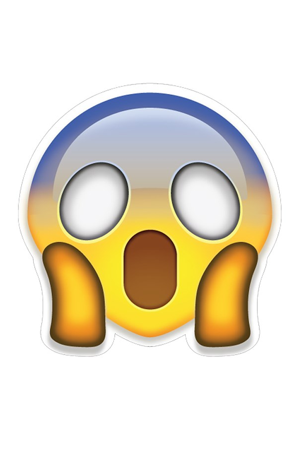 Shocked and screaming emoji.