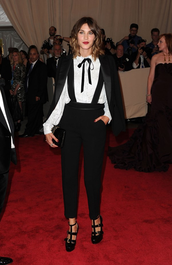 Alexa Chung paired hers with a pussy bow and blouse at the 2010 MET Gala.