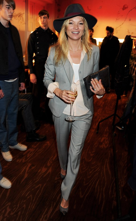 Kate Moss does rock and roll cool at the James Smalls show.